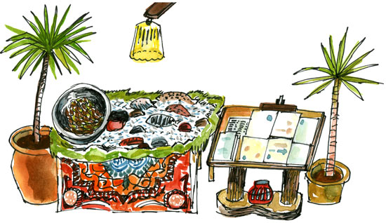 illustration of a food stall with a palm tree