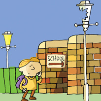 illustration of a child walking to school