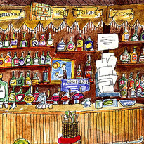 sketch of the interior of Canny Manns bar, Edinburgh